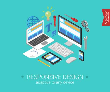 Flat responsive webdesign 3d isometric modern design concept vector. Laptop, desktop, tablet, touch screen phone website interface. Flat web illustration infographics collection for website. Vettoriali