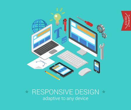 Flat responsive webdesign 3d isometric modern design concept vector. Laptop, desktop, tablet, touch screen phone website interface. Flat web illustration infographics collection for website. Stock Illustratie