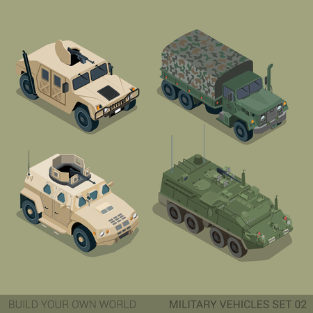 quality: Flat 3d isometric high quality military road transport icon set. Patriot APC armored personnel carrier mil truck cargo ammunition ammo van. Build your own world web infographic collection.