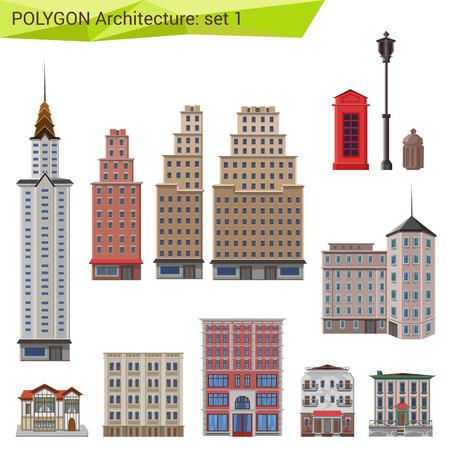 Veelhoekige stijl wolkenkrabbers en gebouwen in te stellen. Stad ontwerp elementen. Polygon architectuur collectie. Stock Illustratie