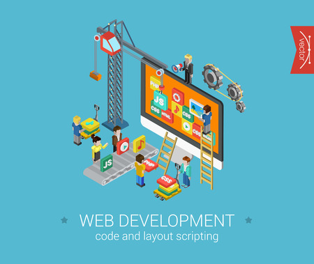 3d image: Flat web development 3d isometric modern design concept vector icons composition. Crane, desktop icons, php, html, javascript (js), css and gears. Flat web illustration infographics elements.
