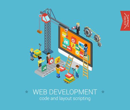 Platte web development 3d isometrisch modern design concept vector iconen samenstelling. Crane, pictogrammen op het bureaublad, php, html, javascript (js), css en tandwielen. Platte web illustratie infographics elementen.