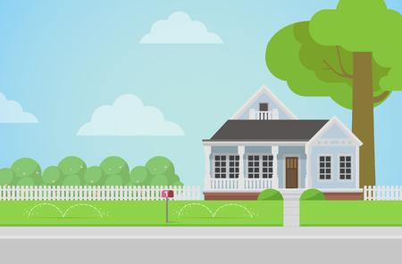 campestre: Casa de la familia rural plana estilo con concepto de césped patio trasero. Arquitectura elementos de diseño. Construye tu colección mundial.