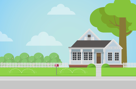 houses house: Flat style countryside family house with backyard lawn concept. Architecture design elements. Build your world collection. Illustration