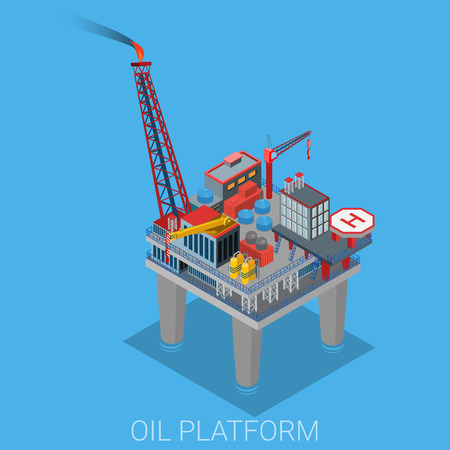 oil refinery: Oil platform with helipad helicopter platform in the sea ocean. Oil production process cycle. Oil extraction derrick, refinery, logistics delivery collection. Illustration