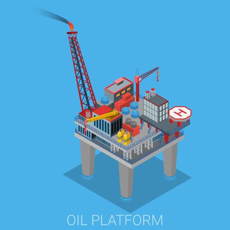 huile: Plate-forme pétrolière avec la plate-forme d'hélicoptère de l'héliport dans l'océan de la mer. Cycle de processus de production de pétrole. Extraction Oil derrick, raffinerie, la collecte de livraison de la logistique.