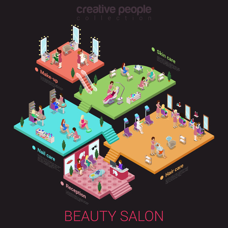 Flat 3d isometric abstract beauty salon office building floor interiors concept vector web infographics illustration. Reception nail hair skin care makeup. Creative people offices collection. Illustration
