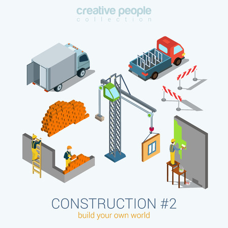3d icons: Construction objects set flat 3d web isometric infographic concept vector. Van bricks crane window painter worker staff. Build your world creative people collection.