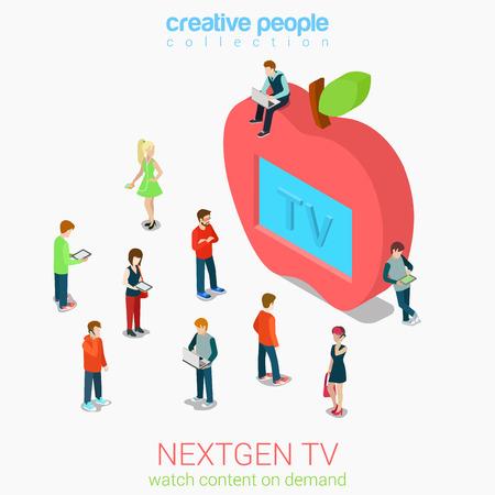 manzana caricatura: Nextgen Internet en línea tv plana 3d web isométrica vectorial infografía. La televisión de próxima generación. Micro personas se agolpan ante la pantalla en forma de manzana tv conjunto enorme. Colección de la gente creativa.