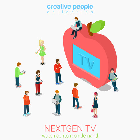 Nextgen online internet tv flat 3d web isometric infographic vector. Next generation television. Micro people crowd before huge apple shaped tv set screen. Creative people collection. Ilustração