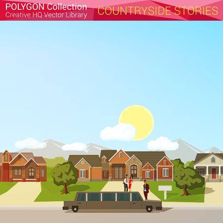 campestre: Poligonal concepto de campo de estilo. Arquitectura elementos de diseño. Limusina rica mansión copyspace distrito. colección mundial polígono.