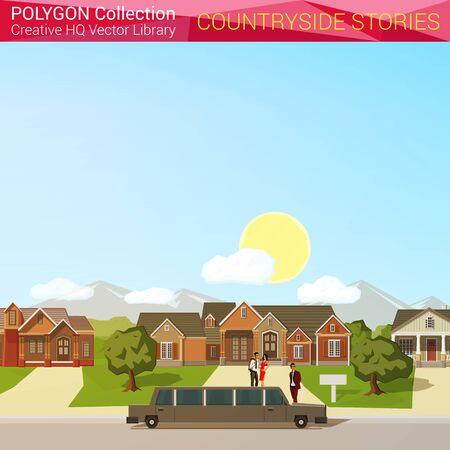 the country: Polygonal style countryside concept. Architecture design elements. Limousine rich district mansion copyspace. Polygon world collection. Illustration
