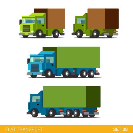Vlakke 3d isometrische hoogwaardige grappig vrachtvervoer levering weg icon set. Vrachtwagen auto wagen motor vrachtwagen. Bouw je eigen wereld web infographic collectie.