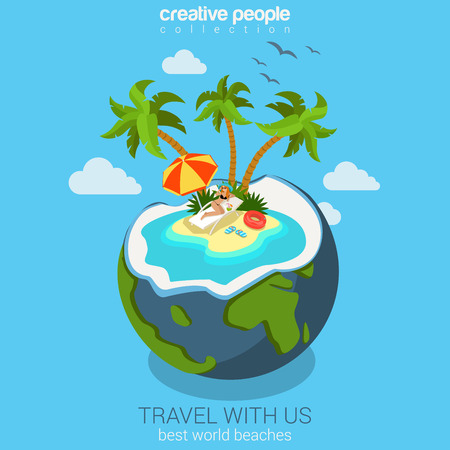 arboles de caricatura: El concepto de viaje isométrica piso en la playa de la isla en el coco