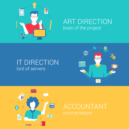 Accountant: Top manager professions concept flat web banners template set art direction it director chief accountant vector illustration website infographics elements. Process collection people professionals flat Illustration