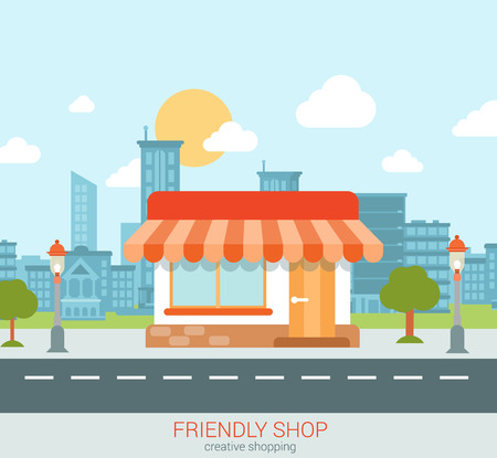 city building: Flat style modern tiny friendly shop showcase in the city web concept vector. Little store with marquise sunblind stands on the street edge. Small business retail website conceptual illustration.