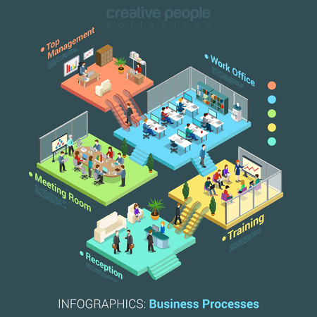 ceo: Flat 3d isometric business office floors interior rooms concept vector Illustration
