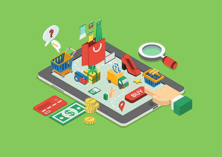 Flat 3d web isometric e-commerce, electronic business, online shopping, payment, delivery, shipping process, sales, black friday infographic concept vector. Arm finger touch tablet buy button. Stock Illustratie