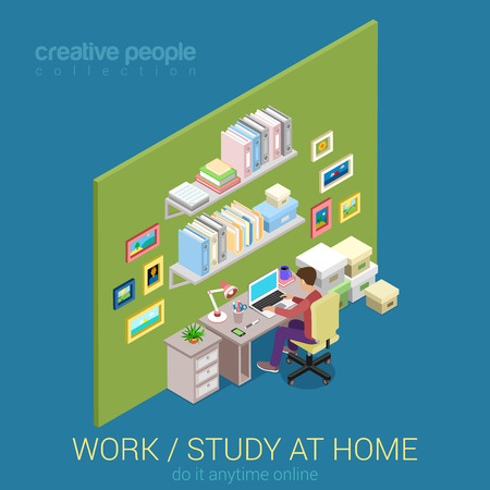 studies: Freelance, work and study at home flat 3d web isometric concept