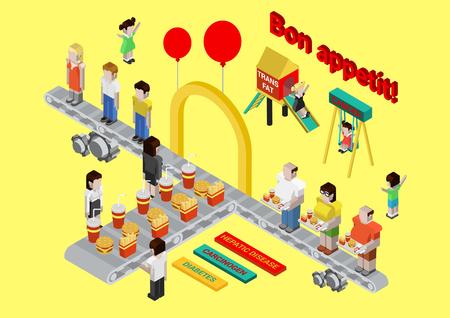diabetes: 3d comida rápida isométrica plana, hamburguesa y papas fritas web infografía vector de concepto. Transportador de la enfermedad de la comida rápida. La gordura grasa trans hepática diabetes carcinógeno. Colección de dibujos animados ilustraciones conceptuales.