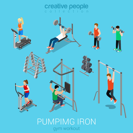 Sportsmen pumping iron gym workout exercise flat 3d web isometric infographic vector. Icon set of running treadmill horizontal bar dumbbells elliptical trainer. Creative people collection.