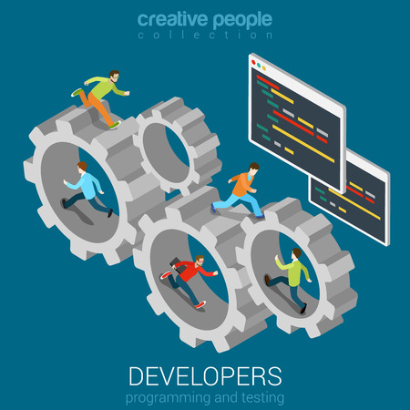 Developers programmer coder teamwork cogwheel flat 3d web isometric infographic vector. Program code interface window and young men staff team memebers in gear connection. Creative people collection.