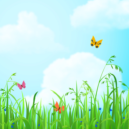 butterfly flower: Nice shiny fresh butterfly flower grass lawn background with clouds sky. Nature spring summer backgrounds collection. Illustration