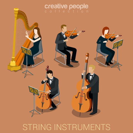 at the theater: String instrument musicians flat 3d web isometric infographic concept vector. Group of creative young people playing on classic instruments scene theater opera concert. Cello violin harp viola double bass contrabass.
