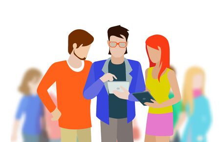 unrecognizable person: Flat creative abstract young group of happy people with tablets discussing work project. Hipster fashionable boy girl meeting and blurred crown background.