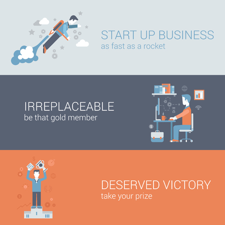 rocket man: Flat quick start up business, work hard, win concept. Vector icon banners template set. Rocket man launch, workplace, irreplaceable, deserved victory. Web illustration. Website infographics elements.