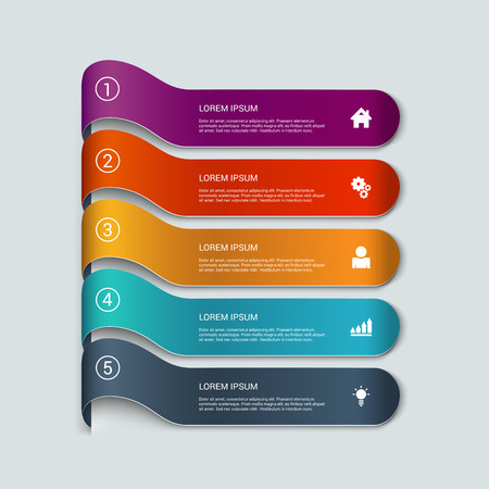 five elements: Simple multicolor 3d line 5 steps infographics mockup template. Infographic background concepts collection.