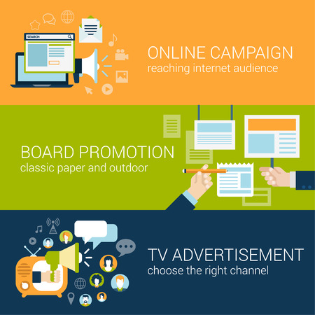 campaigns: Flat style infographic advertising campaign types concept. Online social media promo, board promotion, tv advertisement web site icon banners templates set. Website conceptual flat vector collection.