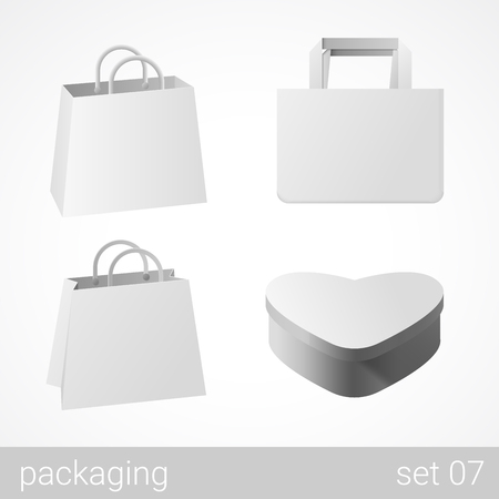 gift wrapping: Carton cardboard bags and gift wrapping package set. Blank white packaging objects isolated on white vector illustration.