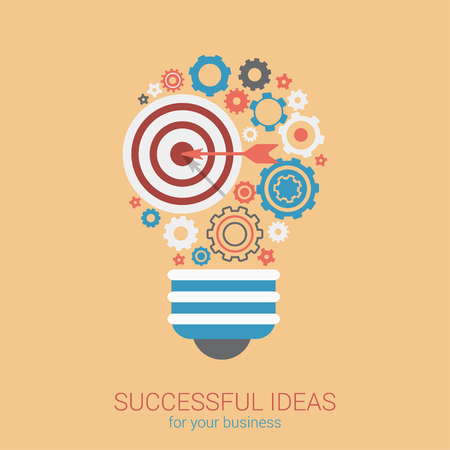 innovacion: estilo plano bombilla moderna idea innovación concepto de infografía. web de ilustración conceptual de la lámpara consiste en la flecha de aire objetivo y engranajes de ruedas dentadas. la planificación de la estrategia de negocios iconos objetos de collage. Vectores