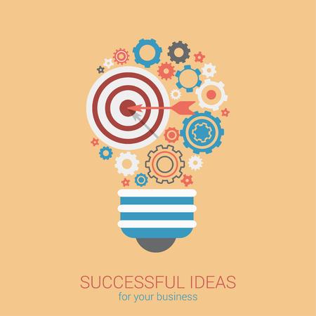 Vlakke stijl modern idee innovatie lamp infographic concept. Conceptuele web illustratie van de lamp bestaat uit doelwit lucht pijl en tandwiel tandwielen. Business strategie planning objecten icon collage. Vector Illustratie