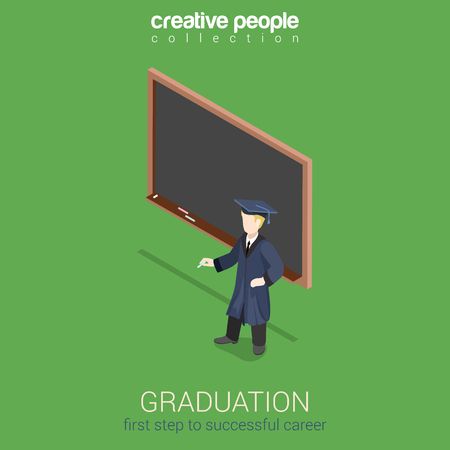 unrecognizable person: Graduation learning flat 3d web isometric infographic concept vector. Young student stands over empty blank dark blackboard with chalk. Creative people collection.