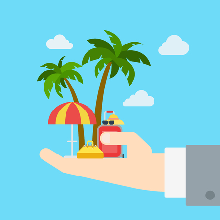 vacation: Travel company proposal promo tour business vacation flat web infographic concept vector template. Palm sun umbrella bag suitcase on huge palm. Creative tourism collection. Illustration
