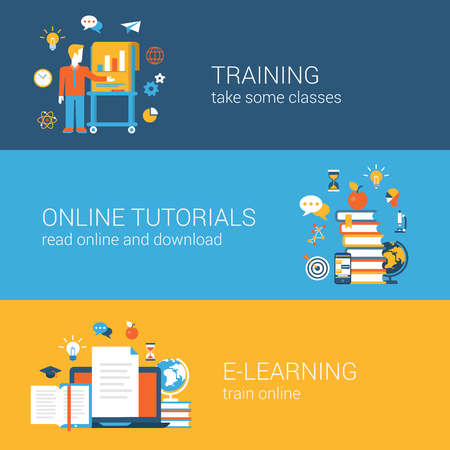 courses: Flat education, training, online tutorial, e-learning concept. Vector icon banners template set. Web illustration. Teacher by the blackboard, book heap, laptop document. Website infographics elements.
