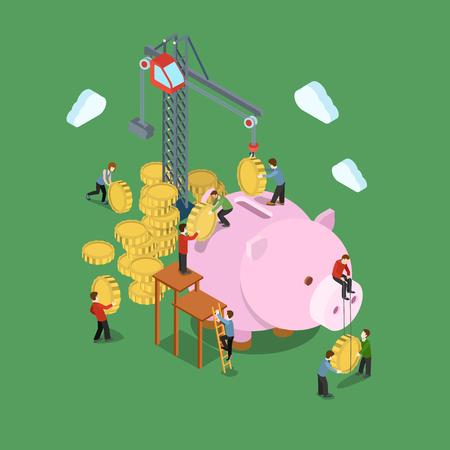 pieniądze: Proces inwestycyjny koncepcja płaskim 3d internetowej izometryczny infografika wektorowych. Żuraw i ludzie umieścić w monety do skarbonka. Kreatywnych ludzi finansowe piggy pieniężnej gromadzenia oszczędności bankowe. Ilustracja