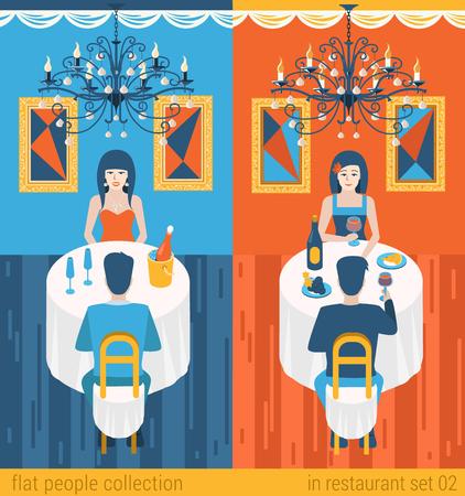 Flat personnes situation mode de vie repas du soir dans le concept de café-restaurant. Ensemble de belle jeune homme et femme couple table de boire du champagne. collection Vector illustration des jeunes humains créatifs