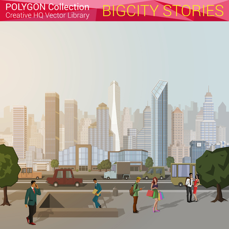 estilo urbano: Poligonal concepto de ciudad de estilo. Ciudad elementos de dise�o urbano. Colecci�n mundial Pol�gono. Vectores