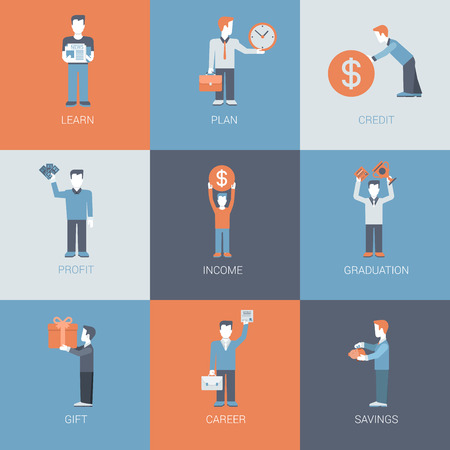 business savings: Business, finance, career, income, profit people figures with object situations concept flat vector icon set. Learn, plan, credit, profit, graduation, gift, savings. Flat website icon collection.