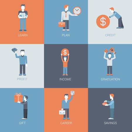 ahorros: Negocios, finanzas, carrera, ingresos, personas de ganancias figuras con situaciones de objetos vector de concepto plana conjunto de iconos. Aprender, planificar, el crédito, el beneficio, la graduación, regalo, ahorros. página web de la colección icono plana.