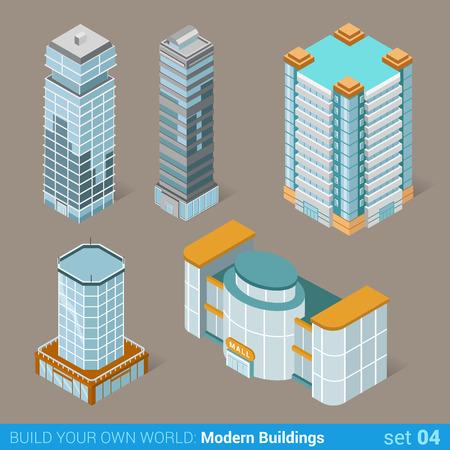 plaza comercial: Arquitectura modernos edificios de negocios conjunto de iconos planos 3D isométrico ilustración vector web. Centro empresarial comercial del gobierno y los rascacielos público. Construye tu propia colección infografía mundo web.