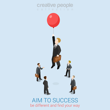 Aim to success flat 3d web isometric infographic business concept vector template. Businessman fly up away high on balloon. Creative people collection. Vectores