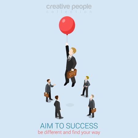 Apunte al éxito plana 3d web isométrica concepto de negocio plantilla vector de infografía. Empresario volar hasta distancia de alta en el globo. Colección de la gente creativa.