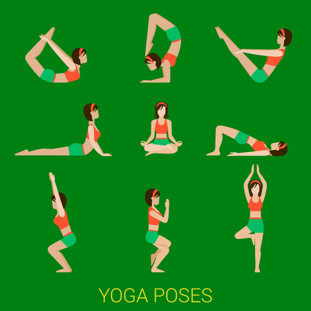 Flat yoga poses stylish modern young girl lady pilates set of figures.