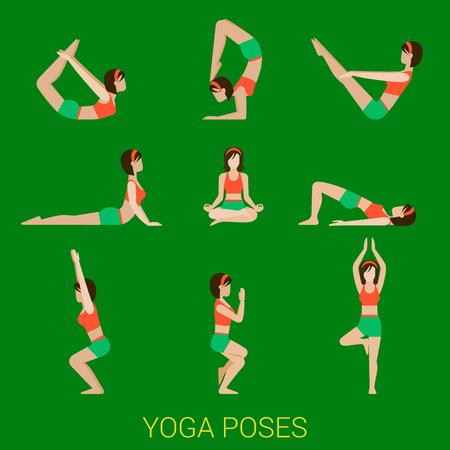 woman vector: Flat yoga poses stylish modern young sexy girl lady pilates set of figures. Illustration