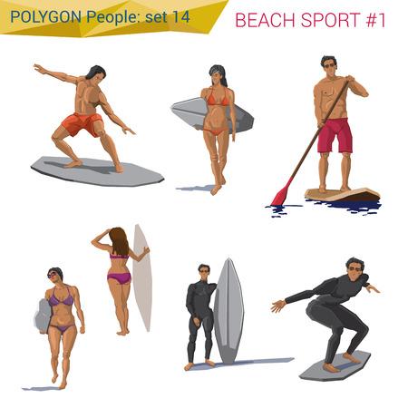 다각형 스타일 해변에서 수상 스포츠 사람들이 설정합니다. 다각형 사람들의 컬렉션입니다.
