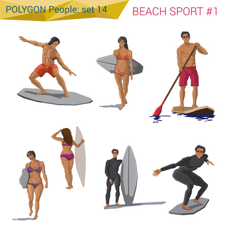 walk board: Polygonal style beach water sports people set. Polygon people collection.